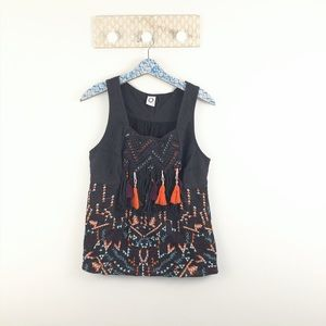 Akemi + Kin Anthro Embroidered brown tank size med